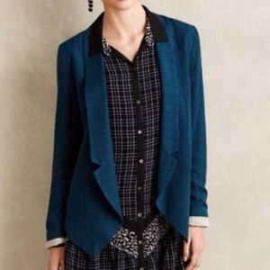Anthro Teal Casual Draped Blazer